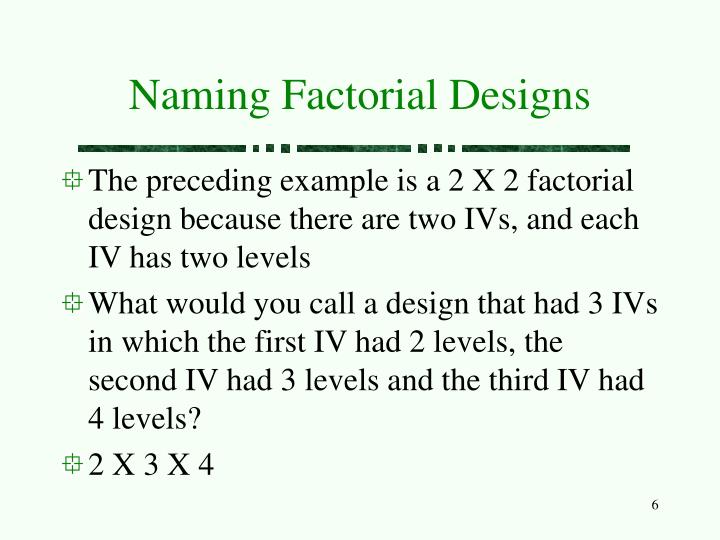 Naming Factorial Designs