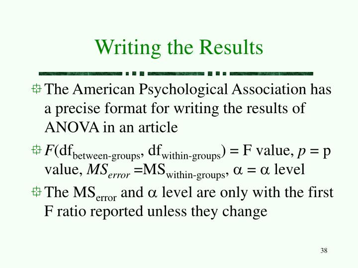 Writing the Results