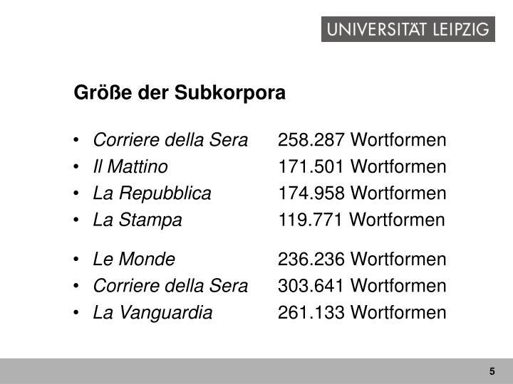 Größe der Subkorpora