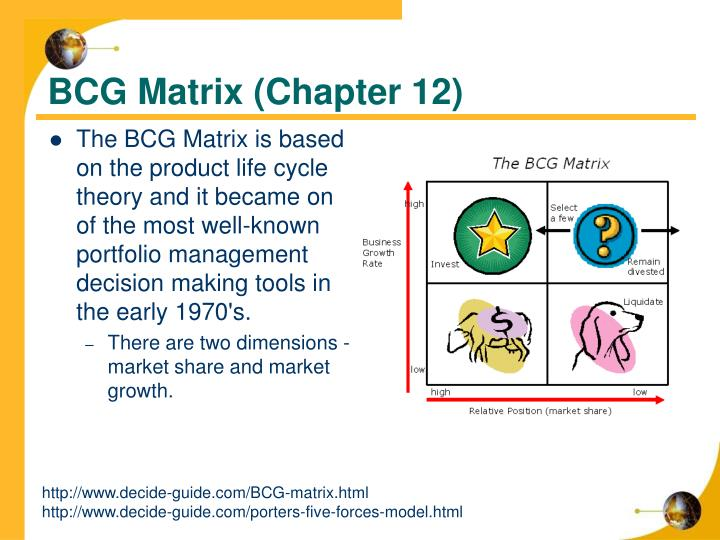 The BCG Matrix is based on the product life cycle theory and it became on of the most well-known portfolio management decision making tools in the early 1970's.