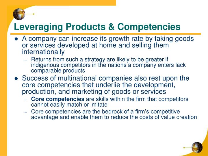 Leveraging Products & Competencies