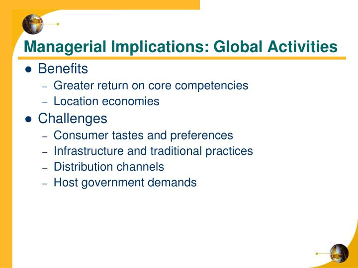Managerial Implications: Global Activities