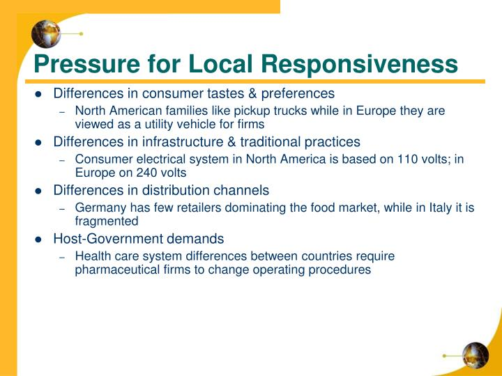 Pressure for Local Responsiveness