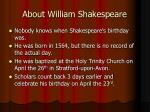 about william shakespeare