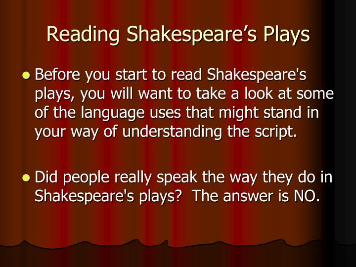 Reading Shakespeare's Plays