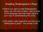 reading shakespeare s plays