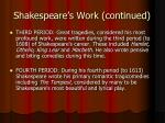 shakespeare s work continued