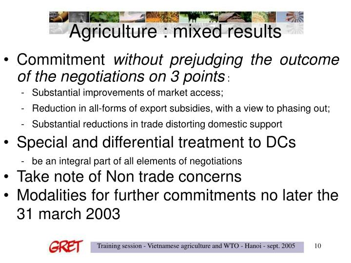 Agriculture : mixed results