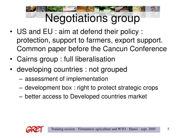 Negotiations group