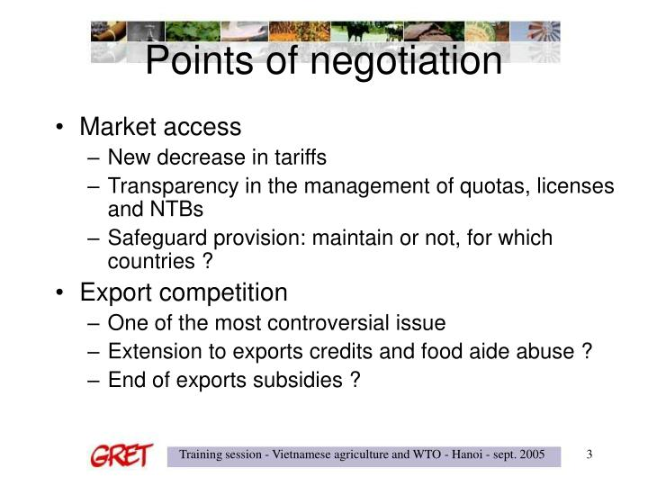 Points of negotiation