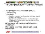 the july package market access