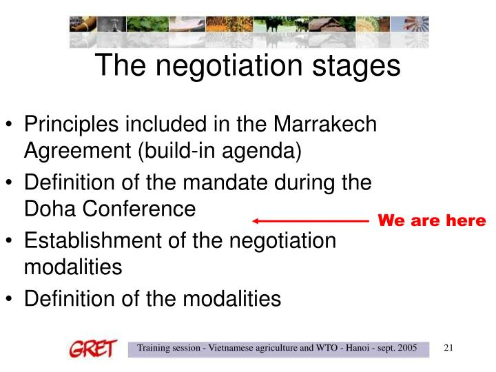 Principles included in the Marrakech Agreement (build-in agenda)