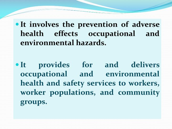 nursing ohs hazards essay Read chapter executive summary: and public health nursing and in occupational health nursing of common environmental and occupational health hazards.