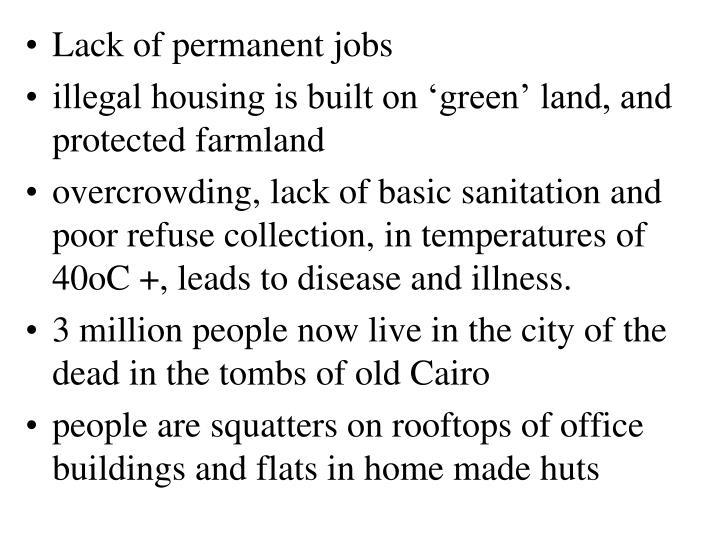Lack of permanent jobs