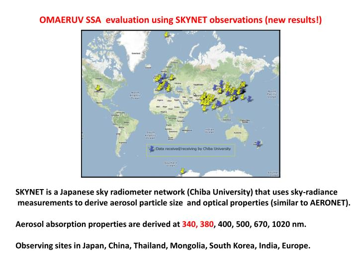 OMAERUV SSA  evaluation using SKYNET observations (new results!)