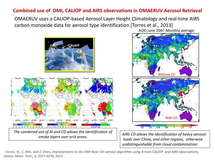 Combined use of  OMI, CALIOP and AIRS observations in OMAERUV Aerosol Retrieval