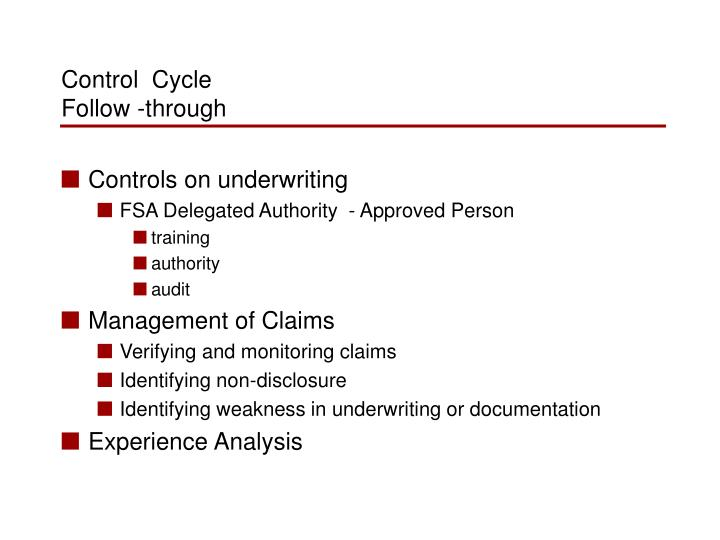 Controls on underwriting