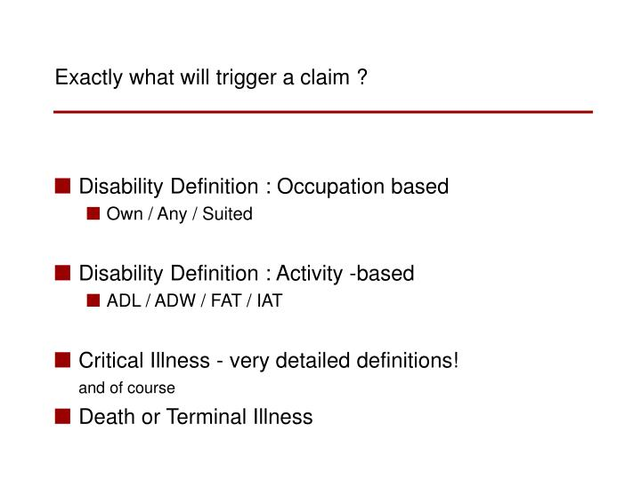 Disability Definition : Occupation based