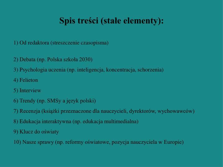 Spis treści (stałe elementy):