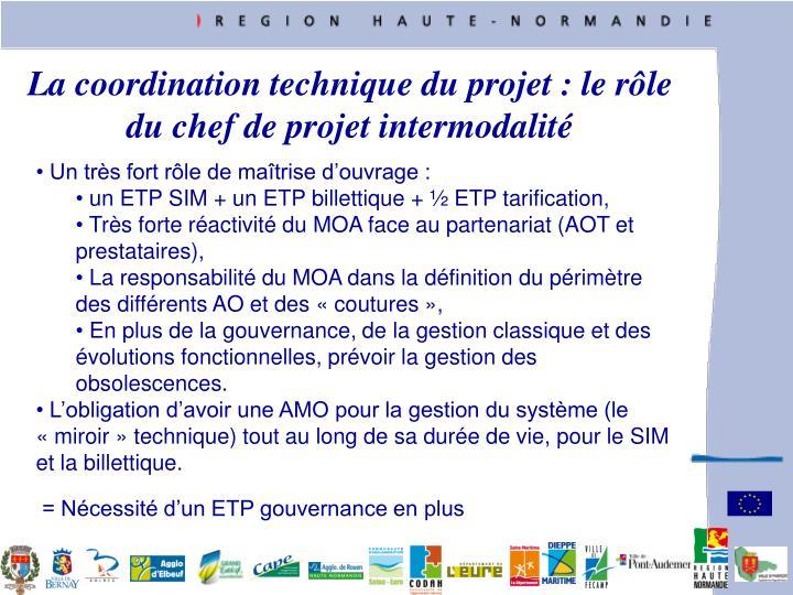 La coordination technique du projet : le rle du chef de projet intermodalit