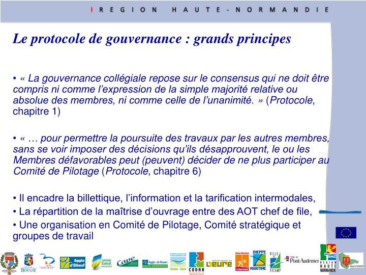 Le protocole de gouvernance : grands principes