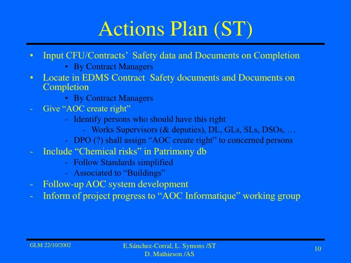 Actions Plan (ST)