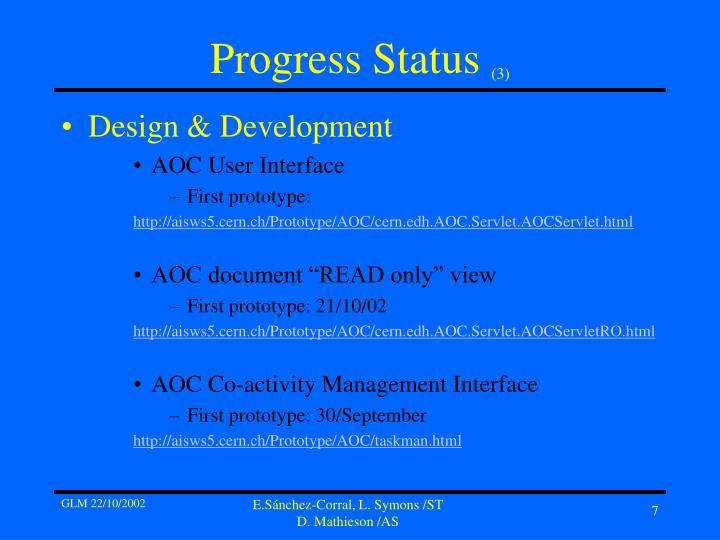 Progress Status
