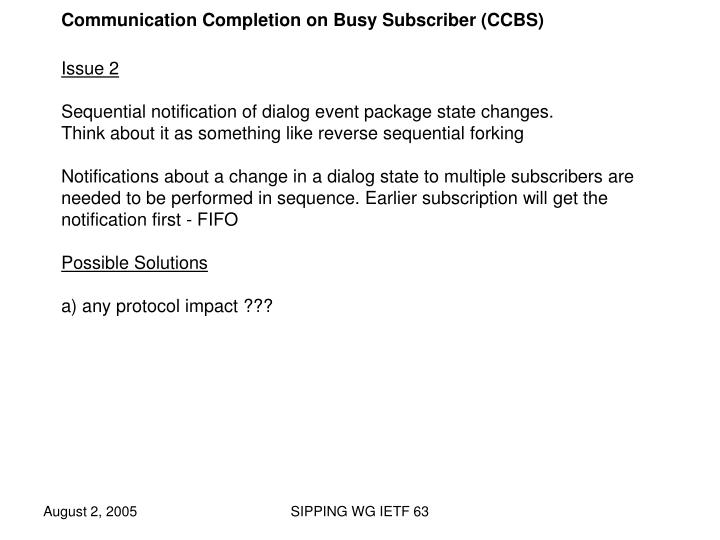 Communication Completion on Busy Subscriber (CCBS)