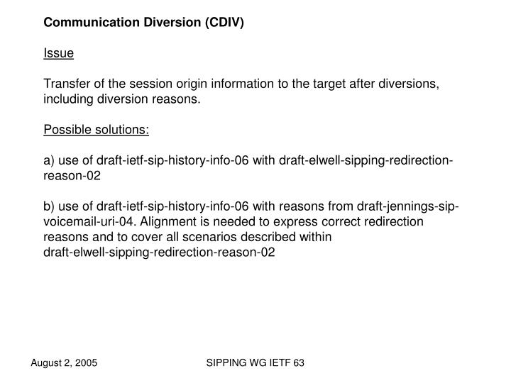 Communication Diversion (CDIV)