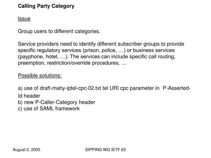 Calling Party Category