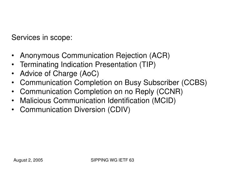 Services in scope: