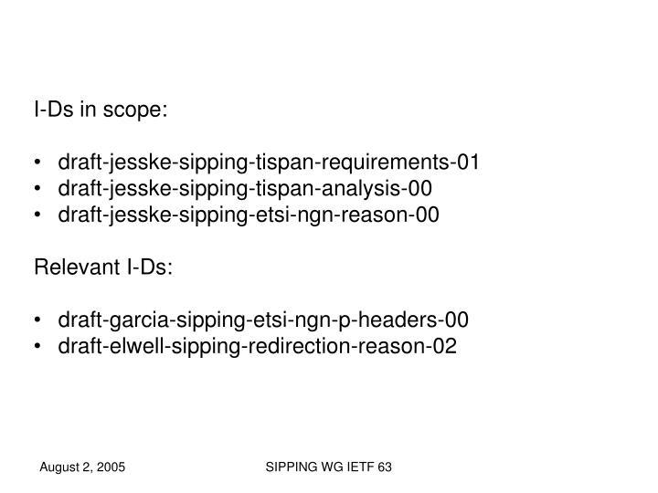 I-Ds in scope: