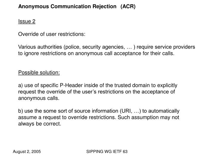 Anonymous Communication Rejection