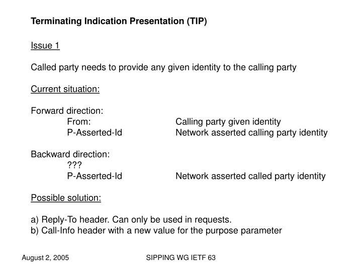 Terminating Indication Presentation (TIP)