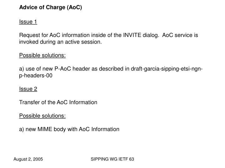 Advice of Charge (AoC)