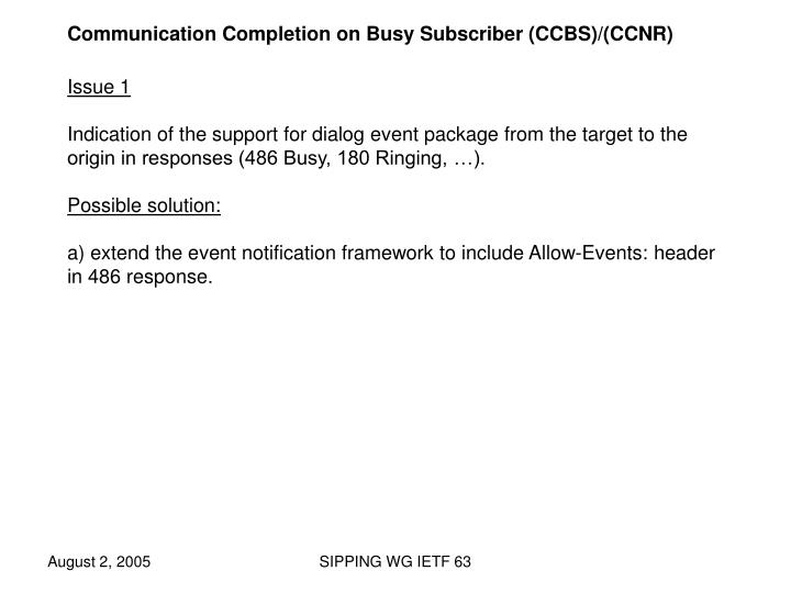 Communication Completion on Busy Subscriber (CCBS)/(CCNR)