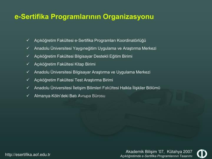 Açıköğretim Fakültesi e-Sertifika Programları Koordinatörlüğü