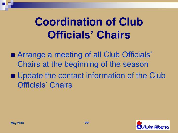Coordination of Club Officials'
