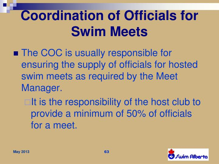 Coordination of Officials for Swim Meets