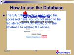 how to use the database2
