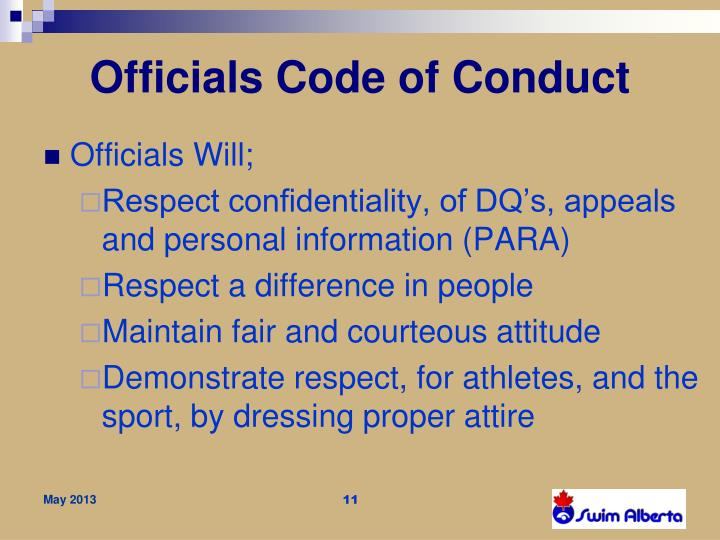 Officials Code of Conduct