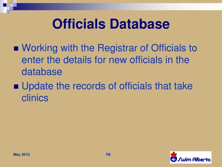 Officials Database
