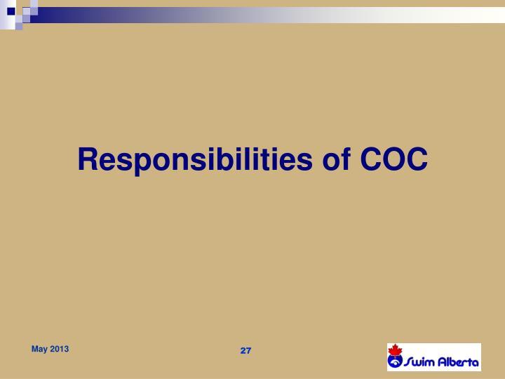 Responsibilities of COC