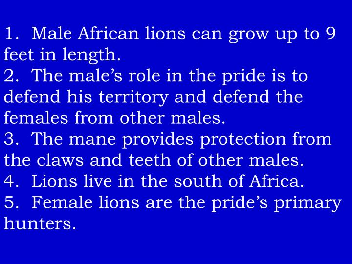 1.  Male African lions can grow up to 9 feet in length.
