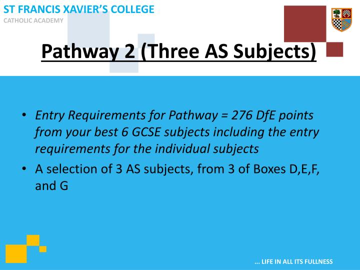 Pathway 2 (Three AS Subjects)
