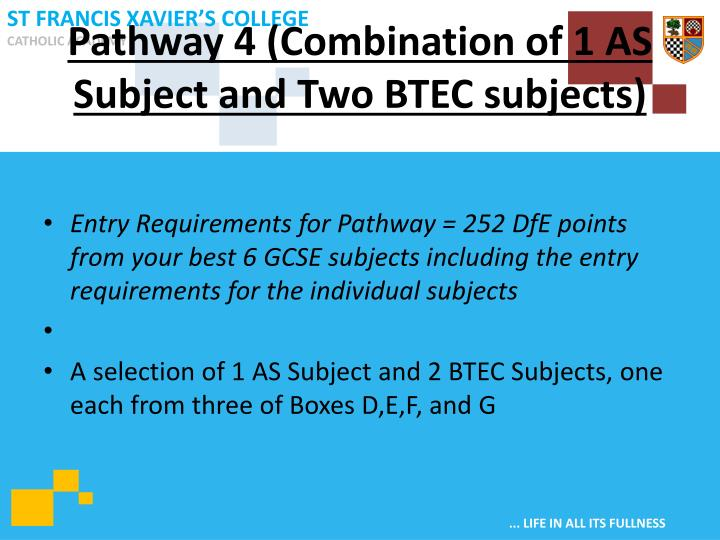 Pathway 4 (Combination of 1 AS Subject and Two BTEC subjects)
