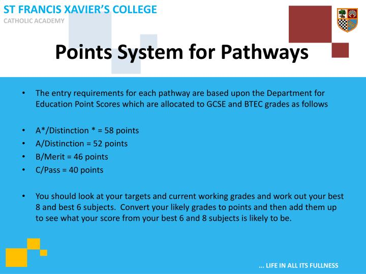 Points System for Pathways