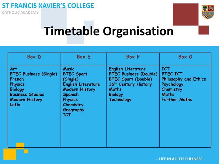 Timetable Organisation