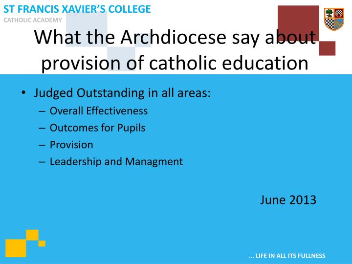 What the Archdiocese say about provision of catholic education
