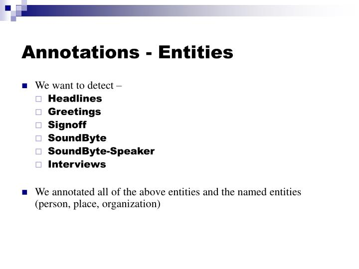 Annotations - Entities